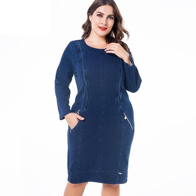 """ח""""כ 2019 חורף נשים בתוספת גודל ג ינס שמלת אופנה גבירותיי בציר ארוך שרוול סתיו midi שמלה"""