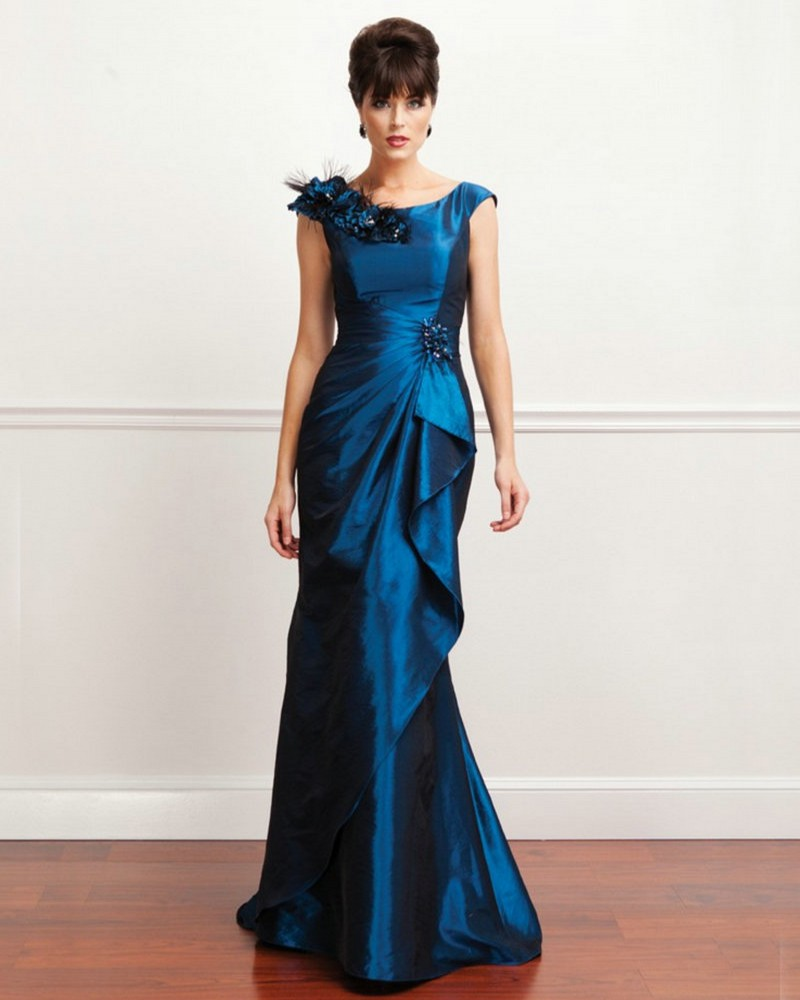 Royal Blue Mother Of The Bride Dresses Floor Length Mermaid Bridal Mother Dresses Cap Sleeve Formal Evening Gowns With Flowers