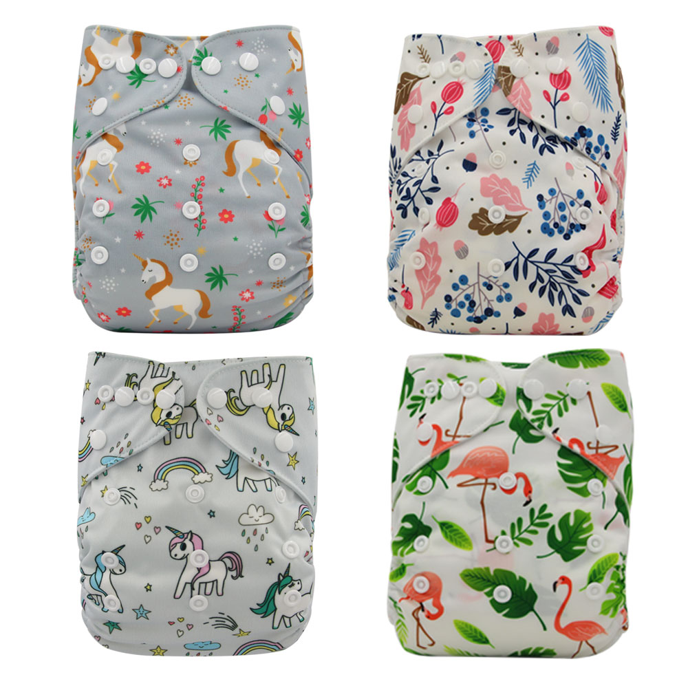 4PCS/SET Washable Boy/Girl Cloth Diaper Cover Adjustable Nappy One Size Couche Lavable Washable Baby Cloth Pocket Diapers