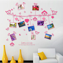 Pink romantic Love rope photo wall PVC Wall sticker Decals/Adhesive Family Lovebirds Wall Stickers DIY Mural Art for Home Decor(China)
