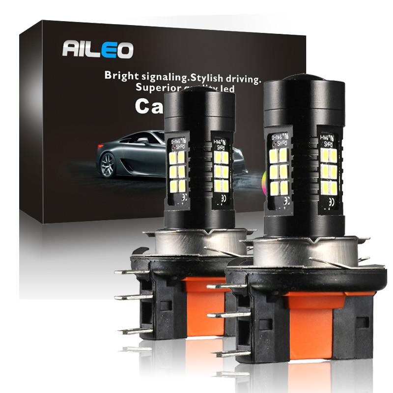 AILEO Car H15 LED Car Headlight Bulbs 6W 1200LM High beam 12V 21-SMD 3030 Conversion Driving Light 6500K For VW Audi BMW