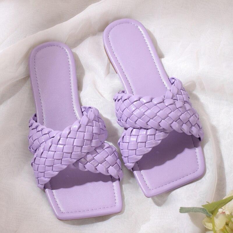 2021 летние INS/модные женские туфли карамельного Цвет клетчатые тапочки с плоской подошвой; Фиолетовый Желтый низкий каблук пляжные шлепанцы ...