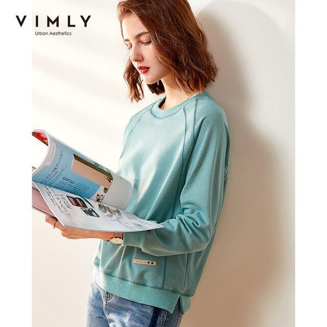 Vimly Hoodies Women Vintage O neck Loose Solid Harajuku Autumn Pullover Female Sweatshirt Sudaderas F0665 3