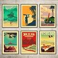 Винтажная Картина на холсте, постеры из крафт-бумаги с покрытием для серфинга у берега басках, Гавайских, Тулуна, Декор для дома, подарок