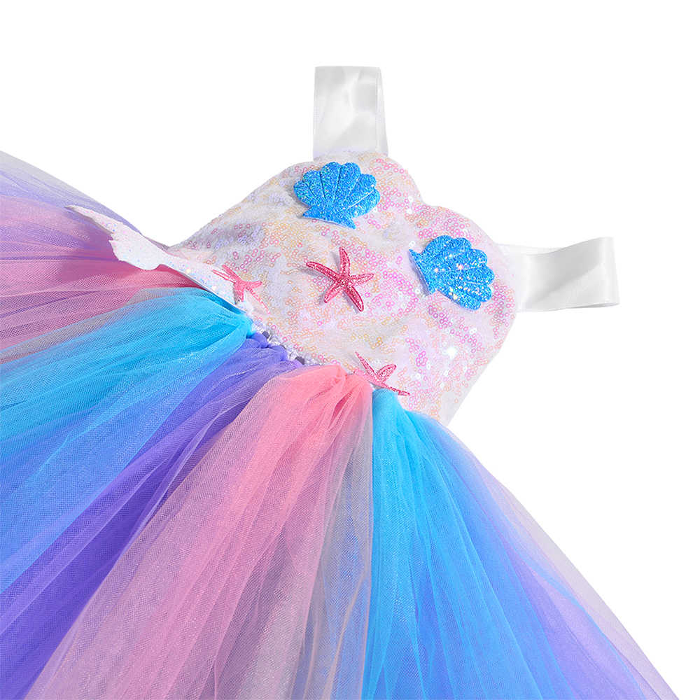 Baby Girls Size 6 12 Months 2T 3T 4T 5 6 7 8 10 12 Summer Wedding Sea Star Starfish Mermaid Glitter Starfish and Shells Tutu Dress