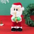 Электрический Санта Клаус игрушка орнамент человек дует саксофоны Рождественский Декор электронная плюшевая игрушка елочных игрушек для ...