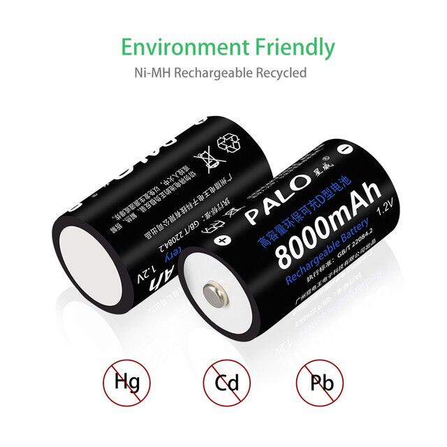 1-8 pièces batterie rechargeable de taille D type D 1.2V 8000mAh NI-MH nimh ni mh batteries de courant haute capacité