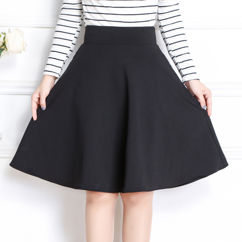 Women Summer Autumn Skirt Casual Solid high waist A-line Cotton skirts Office lady knee length skirts with pant