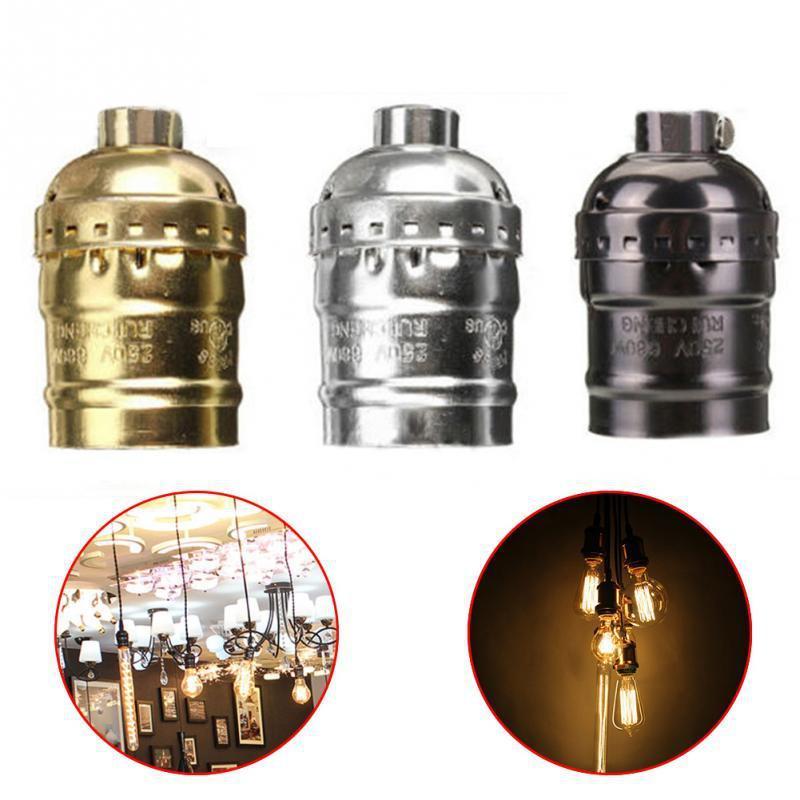 Retro Vintage E26/E27 Screw Bulb Aluminum Shell Base Lamp Bulb Holder Pendant Lighting Socket Ceiling Light Adaptor Cable