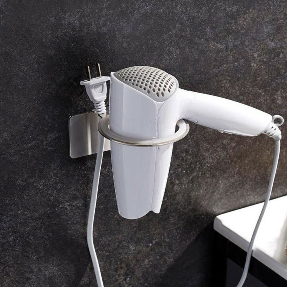 Stainless Steel Hair Dryer Rack Bathroom Wall Holder Shelf Safety Hair Dryer Holder Bathroom Organizer Barber Accessories