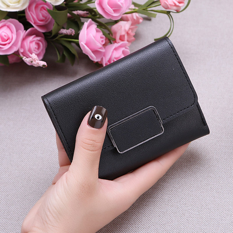 Новинка, маленький кошелек для денег, Женский Повседневный однотонный кошелек, Модный женский короткий Мини Универсальный корейский студенческий маленький кошелек - Цвет: Black