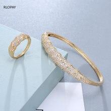 Geflochtene Cubic Zirkon Manschette Armbänder Kupfer Schmuck Armreif Armband mit Ring Braut Öffnen Manschette Armband Luxus Hochzeit Schmuck