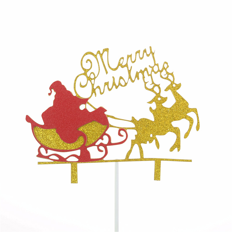 cake toppers Merry Christmas cupcake topper santa claus elk cake flag kids party baking DIY birthday decoration anniversaire new-3