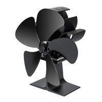 Ventilador de fogão com termômetro magnético 5 lâmina de madeira fogão fãs calor alimentado lareira ventilador de alumínio eco-amigável para madeira log burne