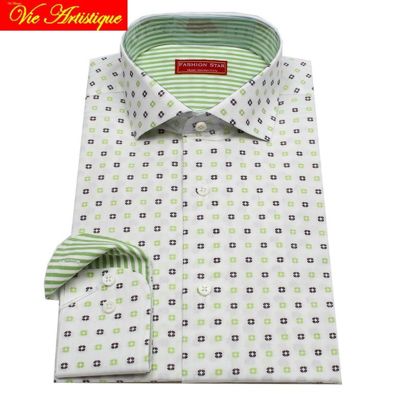 Custom Tailor Made Men's Bespoke Floral Cotton Shirts Business Formal Wedding Ware Bespoke Dress Blouse White Green Geometric