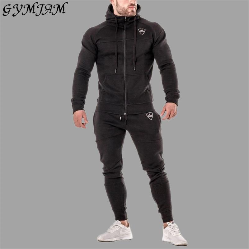 Khaki Men's Sportswear 2019 Men's Casual Suit Jogger Bodybuilding Hoodie Fitness Fashion Men's Trousers Brand Men's Clothing
