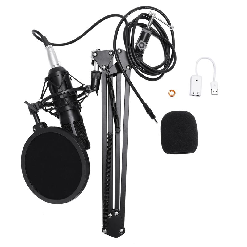 Hot Professional full set of meals BM 900 Condenser microphone Phantom power USB sound card Recording studio KTV PC Microphone in Microphones from Consumer Electronics