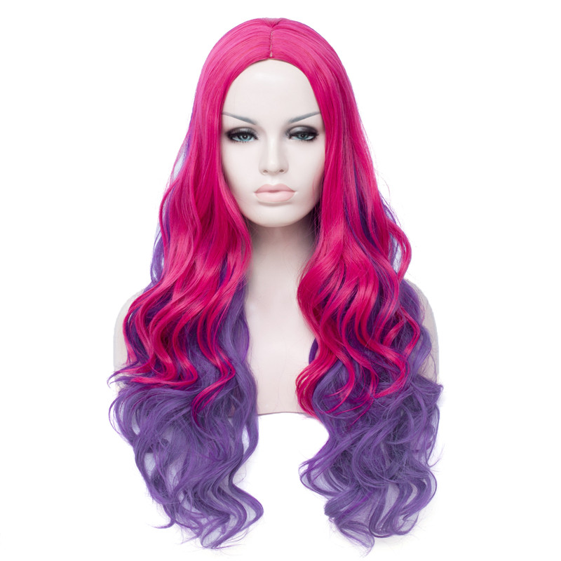 Resistente ao Calor Vikwig Peruca Cosplay Feminino Rosa Gradiente Roxo Grande Ondulado Longo Encaracolado Cabelo Sintética Net