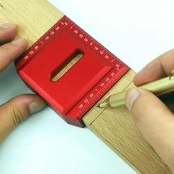 Linijka do obróbki drewna  kwadrat do obróbki drewna 45 stopni 90 stopni linijka kątowa miernik metryczny ze stopu aluminium wielofunkcyjny Measu|Szczelinomierze|Narzędzia -