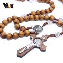 Vnox Unisex Long Rosary Necklaces Wood Beads Chain Big Cross Jesus Pendant Sweater Chain(China)