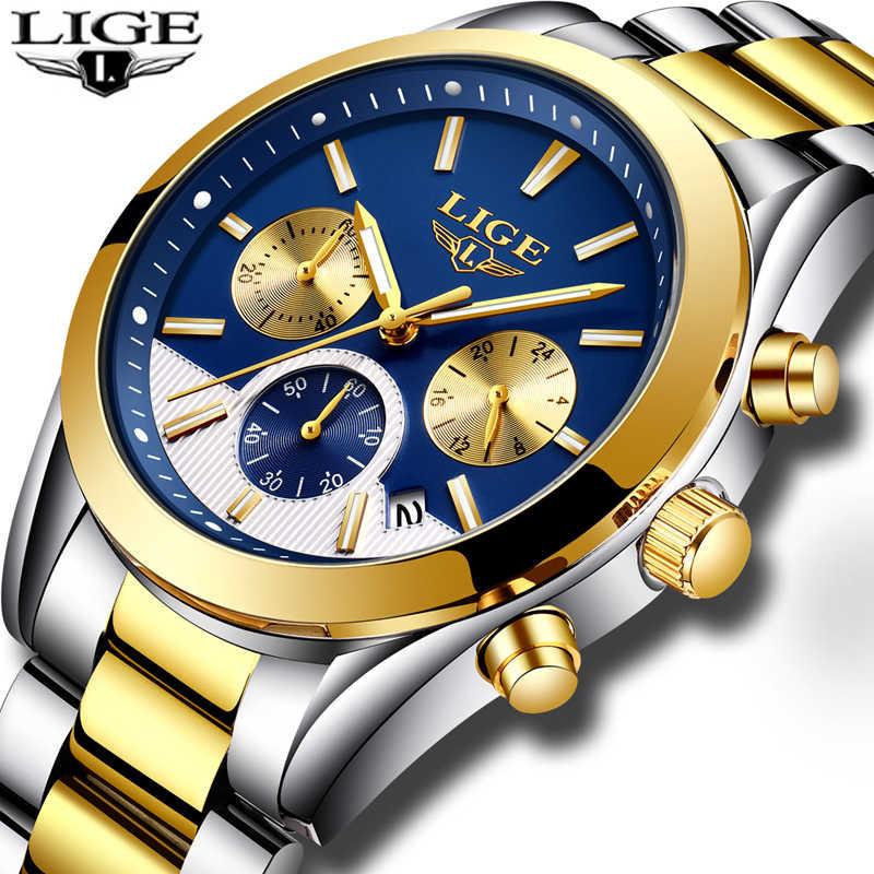 Relojes Hombre Nuevo LIGE para Hombre, Relojes de moda de lujo, Relojes de cuarzo para hombres, reloj deportivo de acero completo y resistente al agua + caja