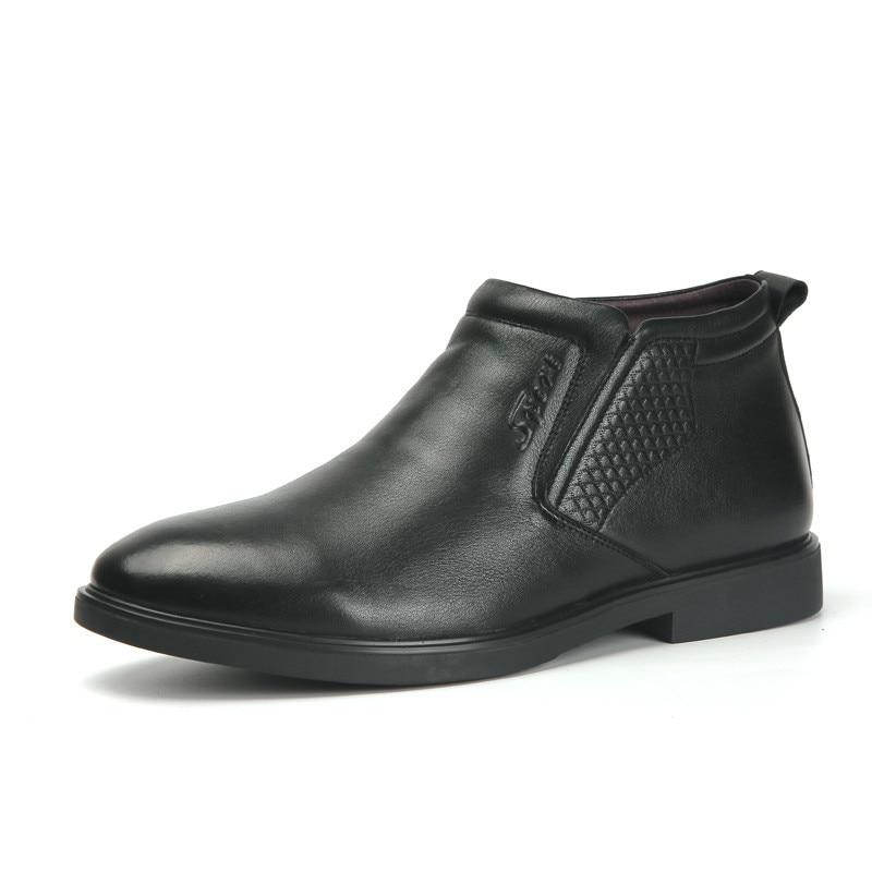 Image 5 - Genuine Leather men winter boots Ankle Boots Fashion Footwear  boot shoes men Casual High Top Men Shoes zapatos de hombreChelsea Boots   -