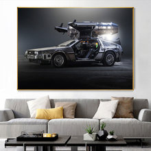 Movies Back To The Future Delorean Time Machine Car Canvas Painting Print and Poster Wall Art Picture for Living Room Home Decor