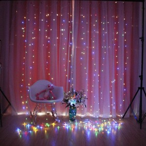 Image 5 - 3Mx3M 9 Colors Lights Romantic Christmas Wedding Decoration Outdoor Curtain Garland String Light Remote control 8 modes USB Lamp