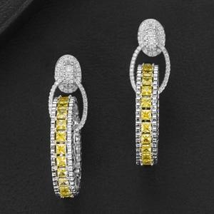 Image 3 - GODKI Jimbora 高級人気のラウンドペンダントブラブライヤリングフルミルコ舗装立方ジルコン Naija 結婚式イヤリングファッションジュエリー