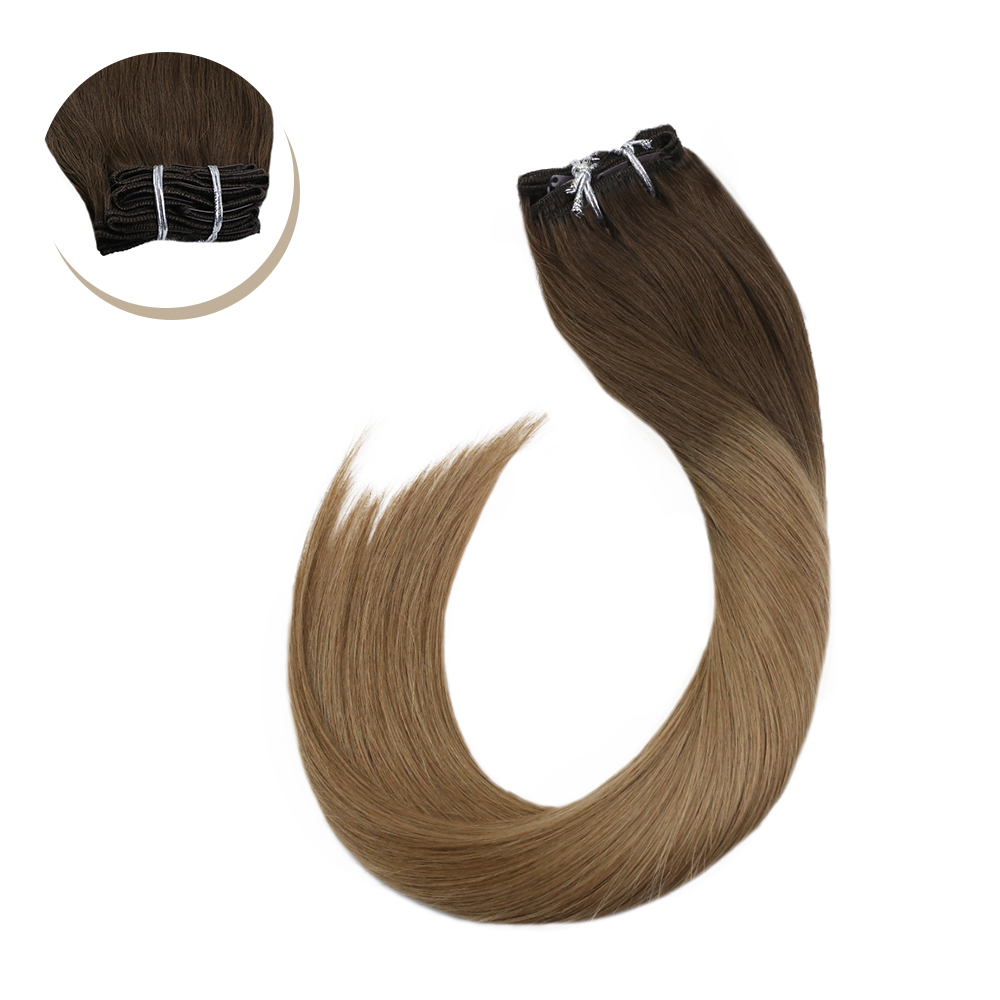Ugeat Human Hair Clip In Extensions Full Head Clip Ins 14-24