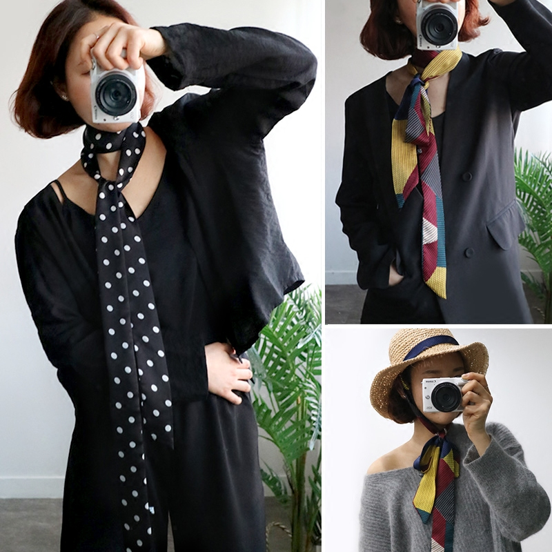 5X195cm Japanese Spring Summer Small Long Scarf For Girl Printed Belt Tie Scarf Bag Ribbon Hairbands Neck Scarf Jersey Scarf