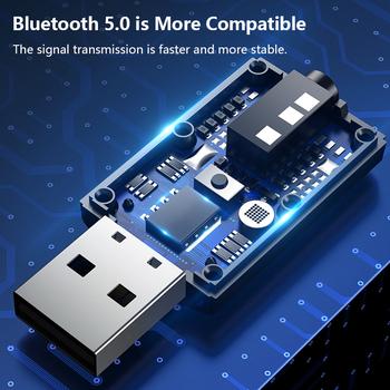 USB Bluetooth V5 0 nadajnik-odbiornik Mic 2 w 1 EDR Adapter Dongle 3 5mm AUX do telewizora słuchawki do komputera domowe Stereo samochodowe HIFI Audio tanie i dobre opinie Skatolly CN (pochodzenie) Brak Podwójne 2 4G + 5G dropshipping wholesale