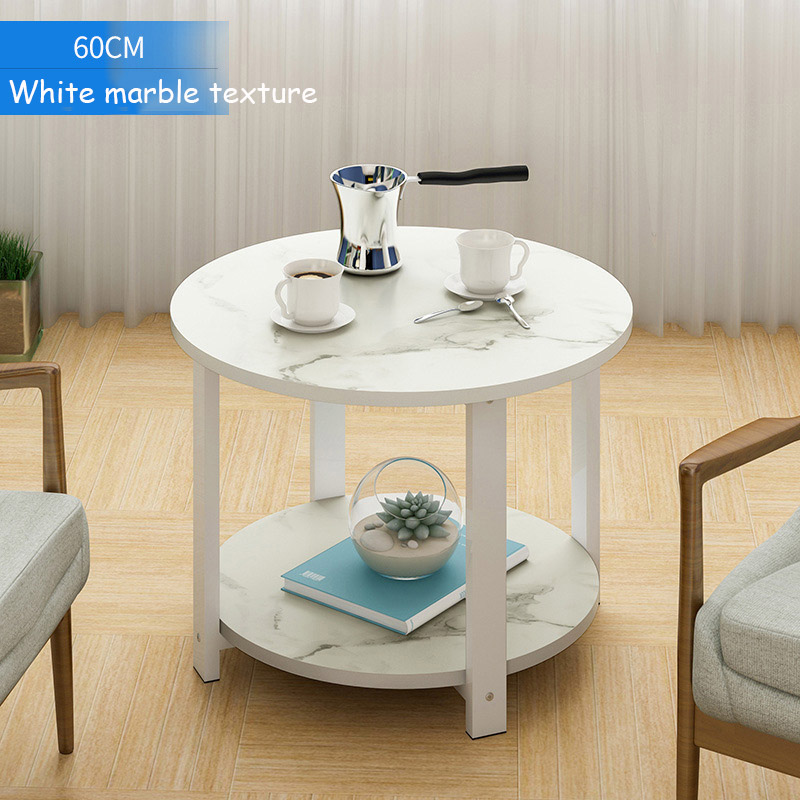 Wooden Coffee Table Marble Texture Simple Smart 2 Layers Round Sofa Side Tea Table For Living Room Bedroom Furniture