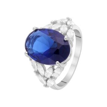 Кольцо из серебра с ситаллом и фианитами R00656