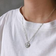 Silvology 925 Sterling Silver estrella corazón collar Vintage patrón abstracto colgante collar para mujeres cumpleaños joyería creativa