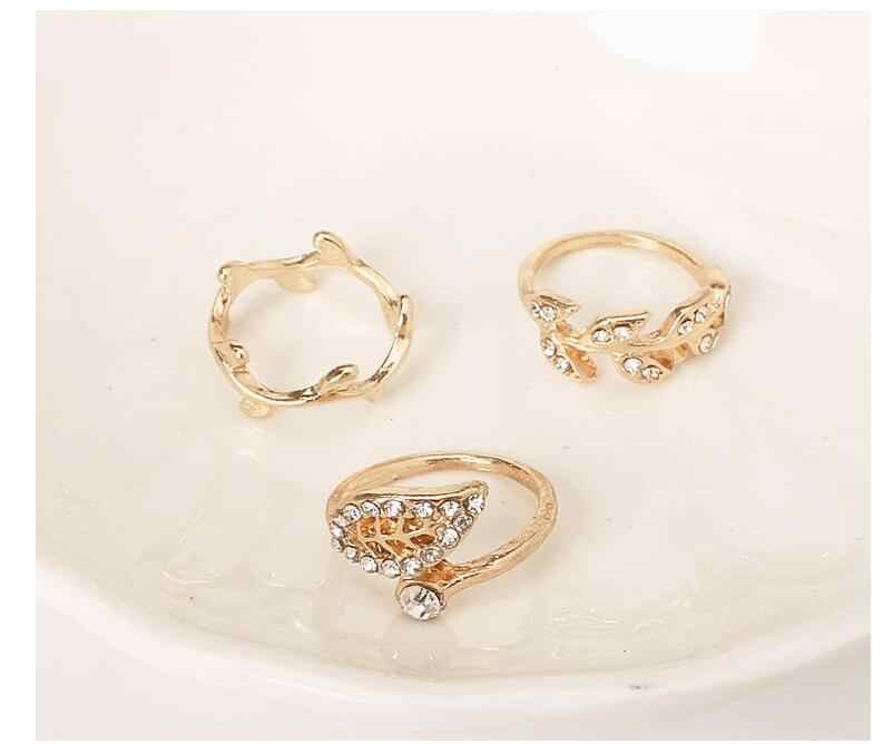 Korean Jewelry Rings Leaves Ring Leaves Three Sets Of Rings Rings For Women Vintage Engagement Ring Set Wholesale