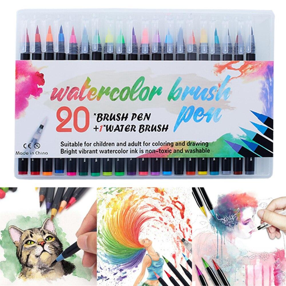 20 цветов Акварельная Кисть ручка художественный маркер войлочный художник набор мягких ручек-кистей цветная ing ручка для рисования манги д...