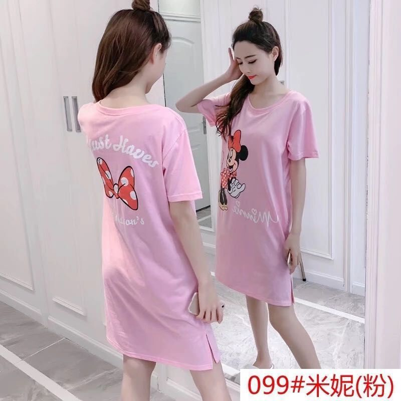 With Chest Pad Nightgown Women's Summer Cotton Short Sleeve Pajamas Students Cute Cartoon One-piece Wear Free Bra Tracksuit