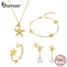 bamoer Summer Hot Sale Starfish with Pearl Jewelry Sets Gold Color Korean Style 925 Sterling Silver Fashion Jewelry ZHS154(China)