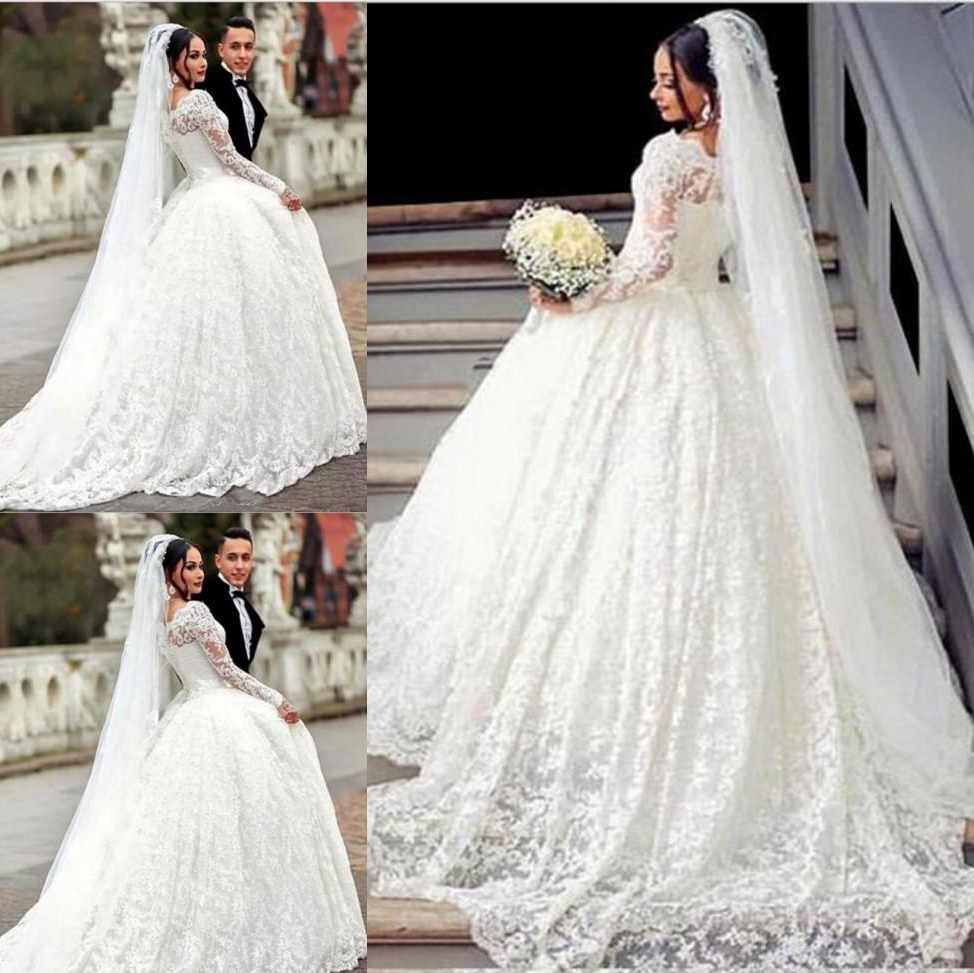 Luxury Lace Princess Ball Gown Wedding Dress With Long Sleeves Romantic Bridal Gown Vestido De Noiva Vintage