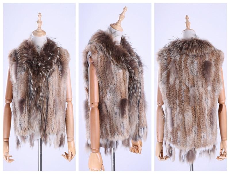H8b8ff86f31874945af029b45a939b8b5F Brand New Women's Lady Genuine Real Knitted Rabbit Fur Vests tassels Raccoon Fur Trimming Collar Waistcoat Fur Sleeveless Gilet