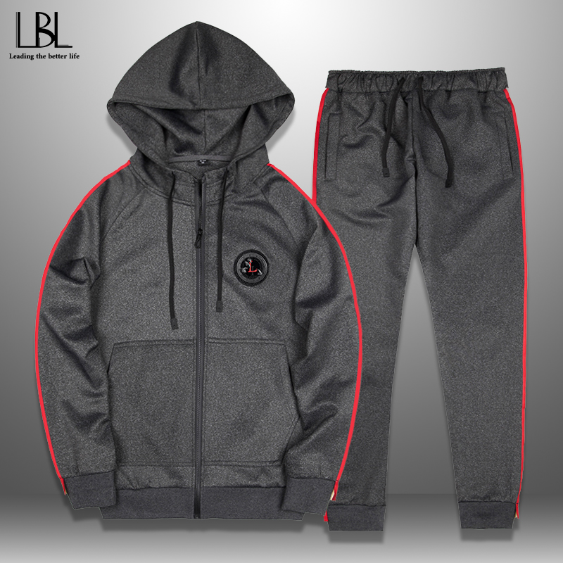Men Sporting Suit Sweatshirt Sweatpants Mens Clothing 2 Pieces Slim Tracksuit