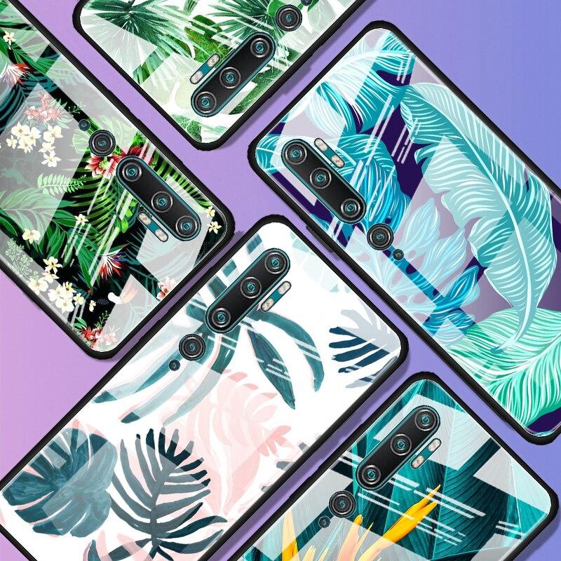 Tropical Green Plant Leaf Tempered Glass Case For Xiaomi Mi Note 10 Pro CC9 CC9E A3 9T 8 Lite 10 Lite 5G Poco X2 Cover Coque