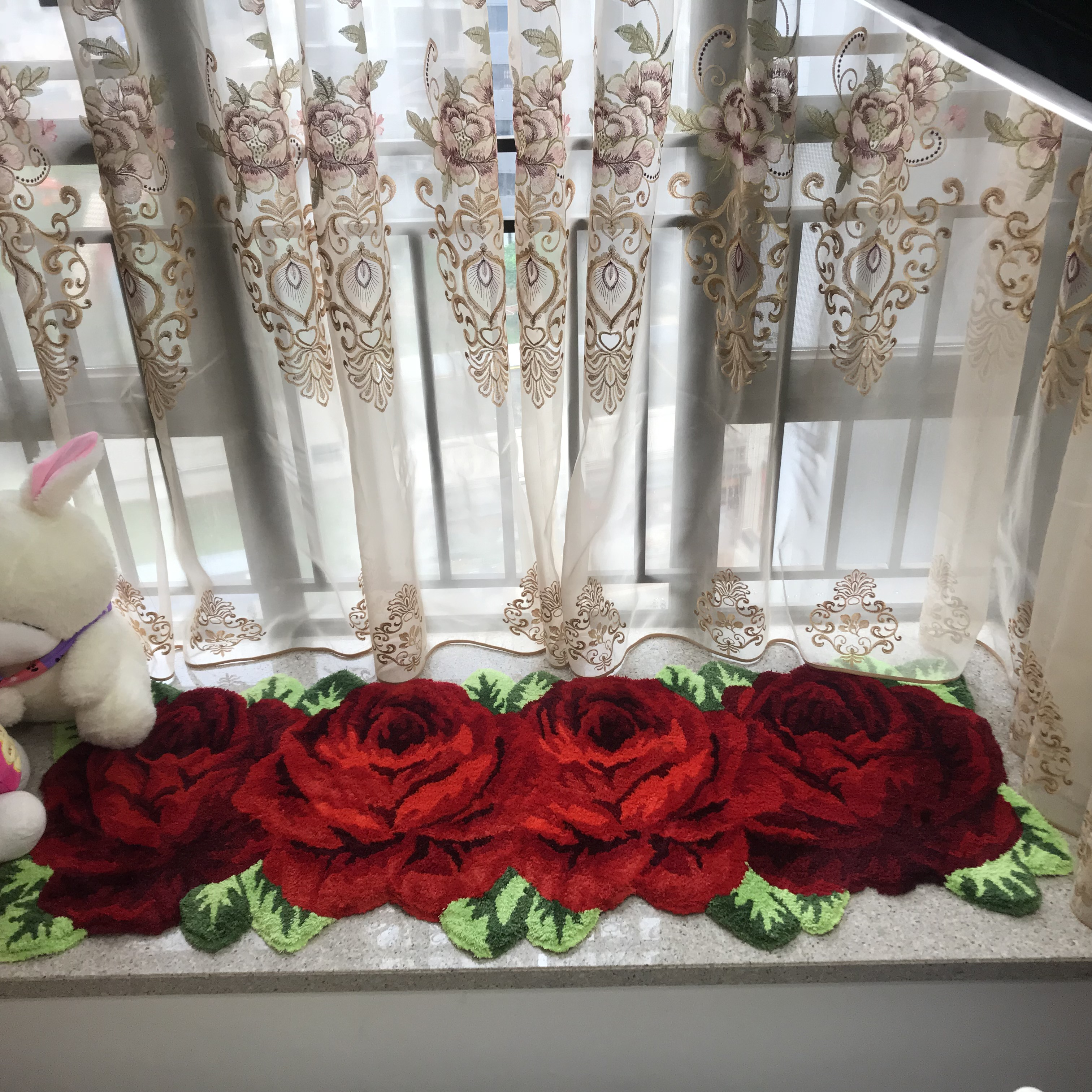 New Arrival Flocking Rose Mat Rose Rug Rose Carpet Pink Red
