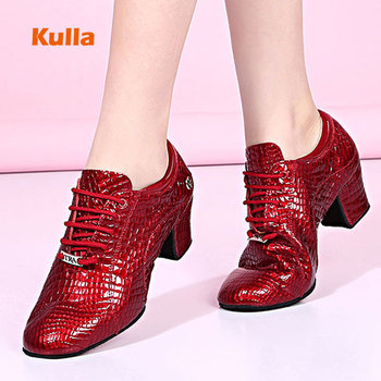 Women Ballroom Latin Dance Shoes Genuine Leather Crocodile Pattern Teachers Practice Modern Tango Dancing Red Salsa - discount item  33% OFF Dance