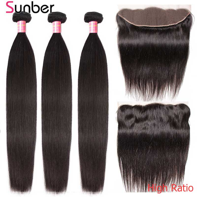 Sunber Hair Peruvian Straight Hair High Ratio Remy Human Hair Weaving 3/4 Bundles With Lace Frontal 13x4/6 Inch Free Shipping