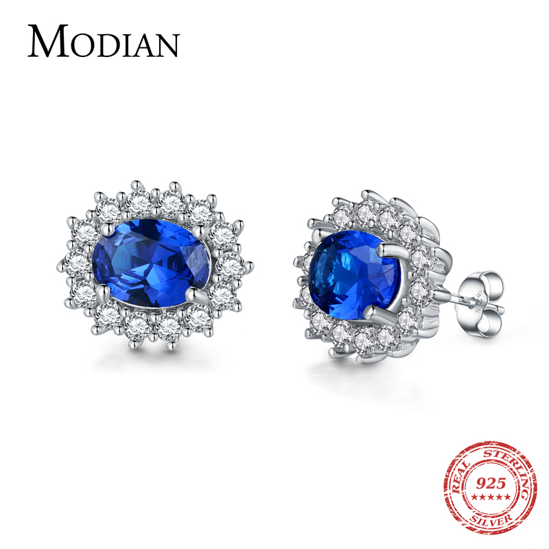 Modian 2017 Classic 100% Real 925 Sterling Silver Earrings Fashion Luxury Crystal Stud Earring Top Quality Wedding Wedding Ear