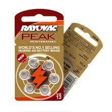 As baterias 30 pces/5 cards do aparelho auditivo rayovac PEAK A13/pr48/s13 do ar do zinco batterie 1.45 v tamanho 13 diâmetro 7.9mm espessura 5.4m