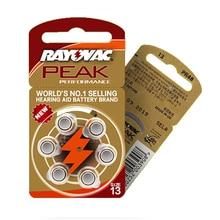 Batteries pour appareil auditif RAYOVAC PEAK A13/PR48/S13 Zinc Air, 30 pièces/5 cartes, 1.45V taille 13 diamètre 7.9mm épaisseur 5.4m