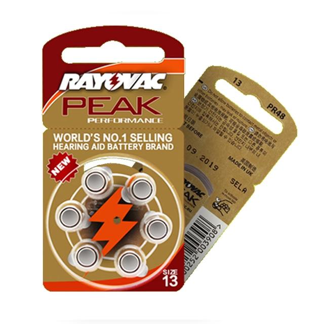 Hearing Aid Batteries 30 PCS / 5 cards RAYOVAC PEAK A13/PR48/S13 Zinc Air batterie 1.45V   Size 13 Diameter 7.9mm Thickness 5.4m
